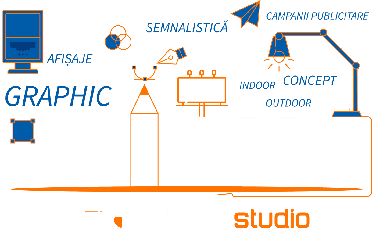Dezvoltăm concepte grafice pentru reclame de evenimente, roll-up, people stopper, bannere publicitare, panouri sau casete luminoase, vitrine magazine, dar personalizăm și vehicule auto.
