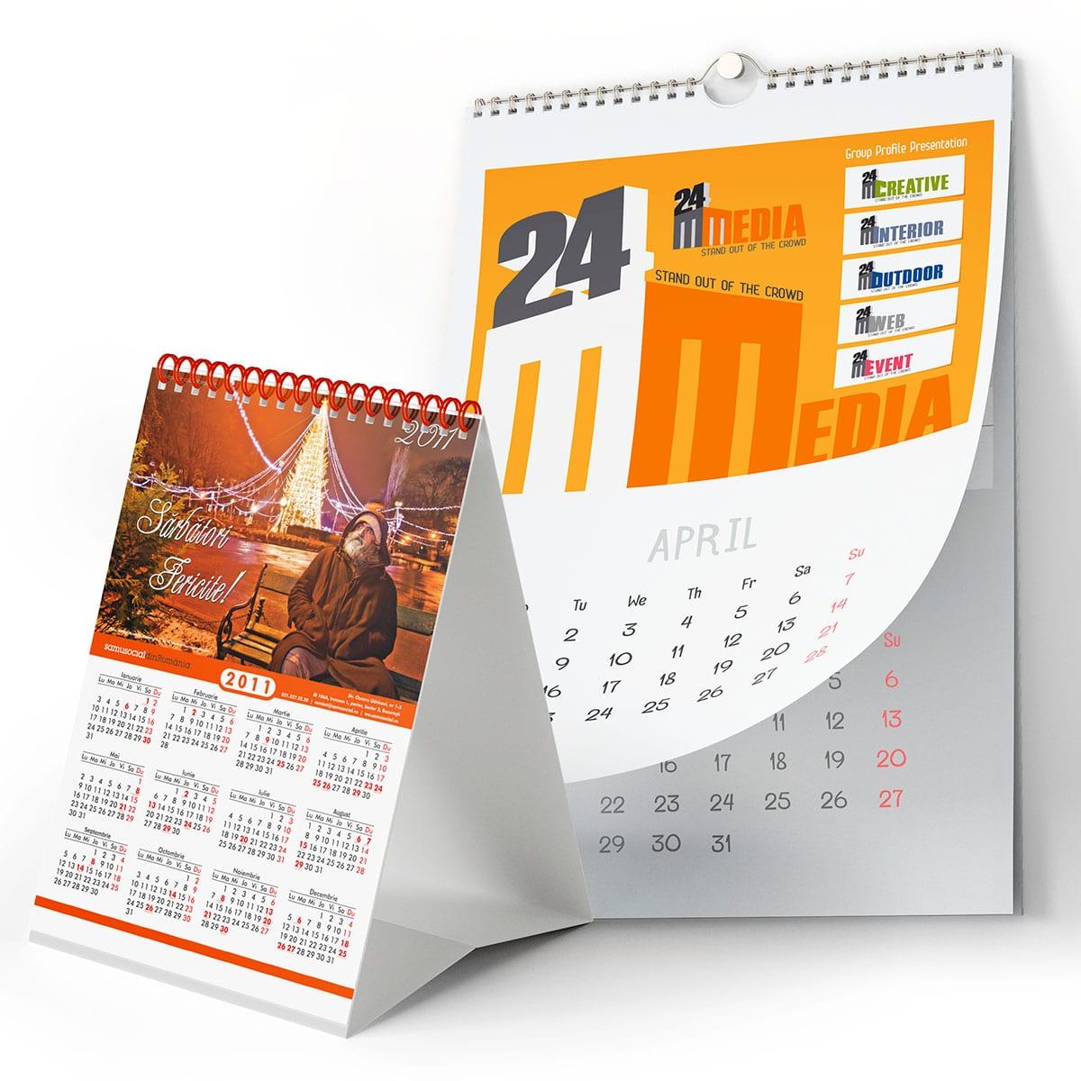 Oferim servicii profesionale de design calendare, pentru toate tipurile cele mai utilizate: calendare de buzunar, calendare de birou, calendare de perete.