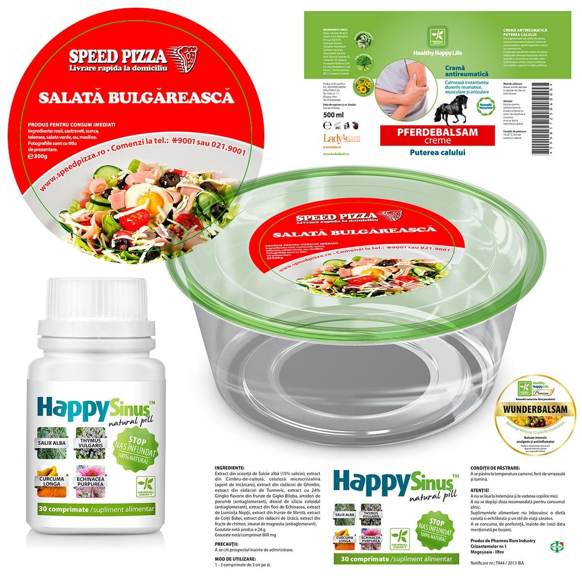 Alege un design de etichetă care va scoate în evidență produsul tău atunci când va sta pe raft alături de produsele concurenței!