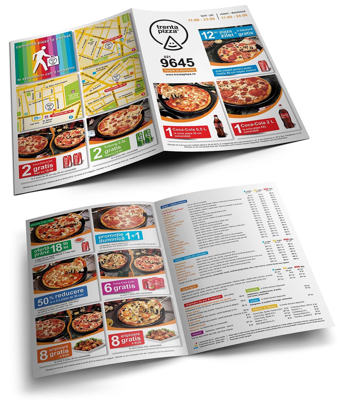 Spre deosebire de flyere, un pliant publicitar promovează informația durabilă și detaliată.