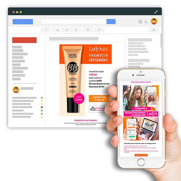 Realizăm newslettere personalizate optimizate pentru orice serviciu de e-mail, full responsive și care se văd perfect pe orice dispozitiv mobil
