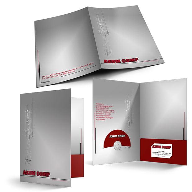Servicii de grafică publicitară, concept și realizare mapă de prezentare pentru firma Axum Comp.