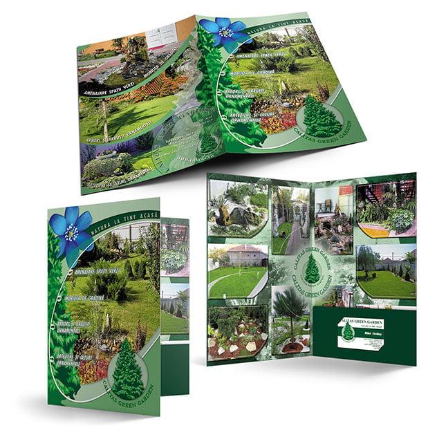 Servicii de grafică publicitară, concept și realizare mapă de prezentare pentru firma Calitas Green Garden.
