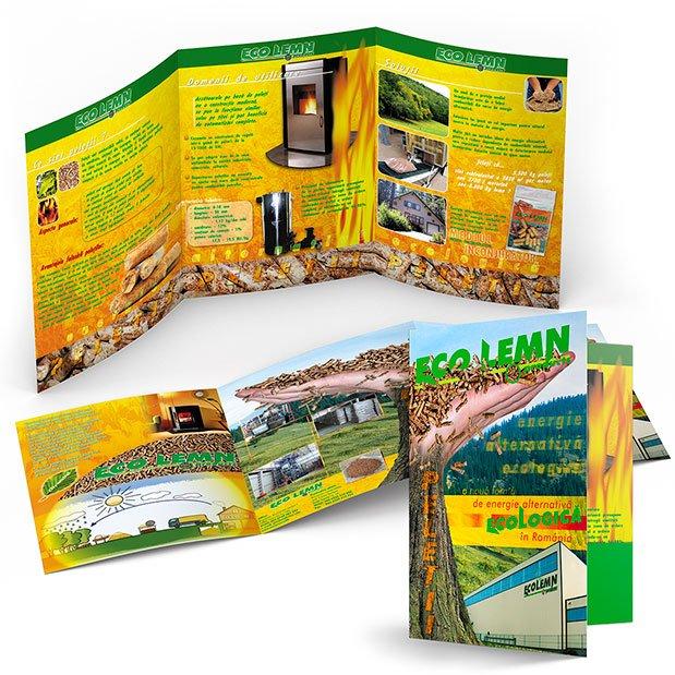 Servicii de grafică publicitară, concept și realizare mapă de prezentare pentru firma Ecolemn.