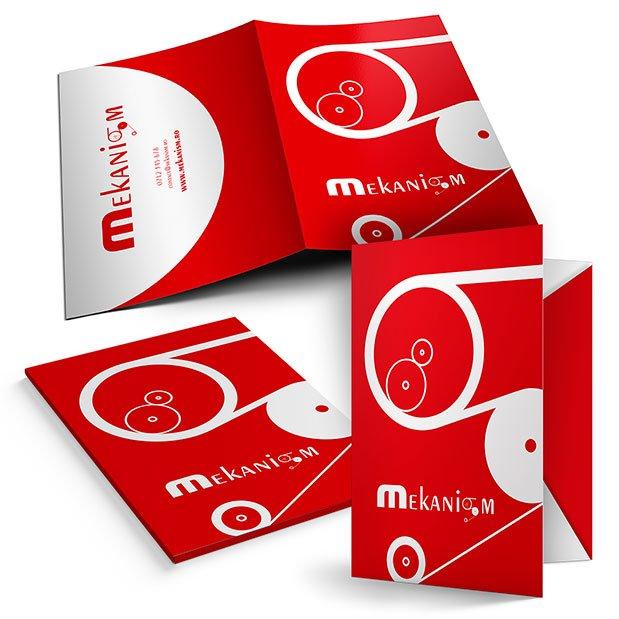 Servicii de grafică publicitară, concept și realizare mapă de prezentare pentru brandul Mekanism.