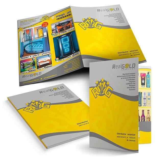 Servicii de grafică publicitară, concept și realizare mapă de prezentare pentru firma Real Gold Company.