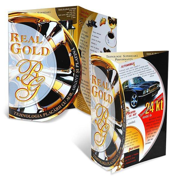 Servicii de grafică publicitară, concept și realizare mapă de prezentare pentru firma Real Gold.