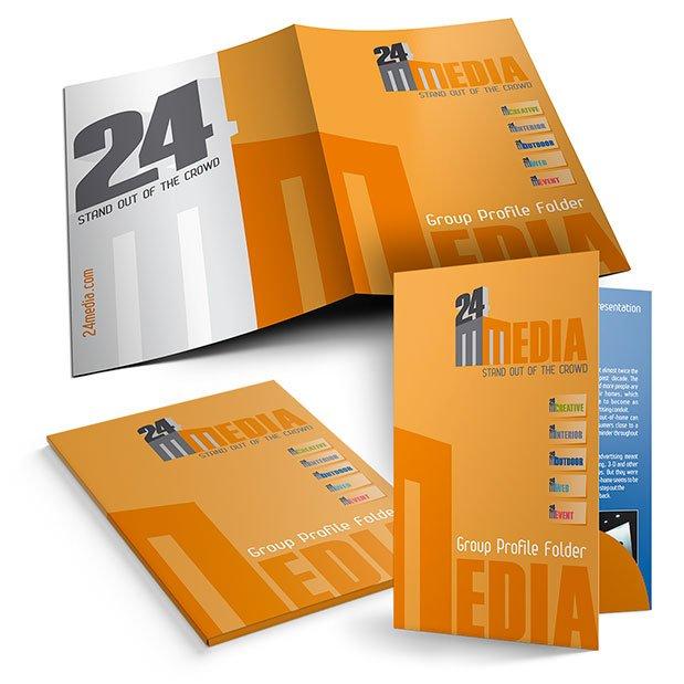 Servicii de grafică publicitară, concept și realizare mapă de prezentare pentru firma 24 Media Group din Dubai, Emiratele Arabe Unite.