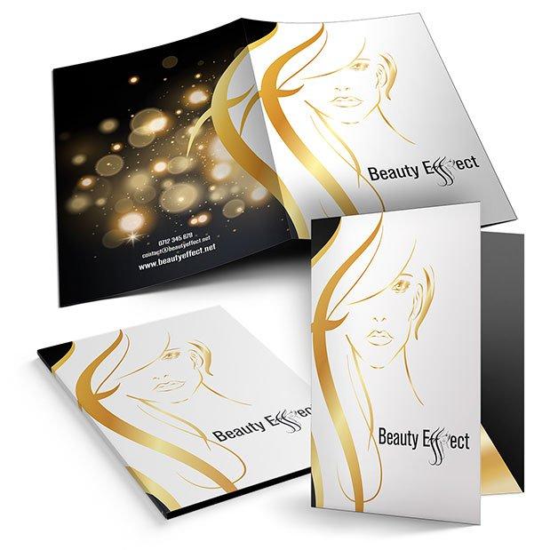 Servicii de grafică publicitară, concept și realizare mapă de prezentare pentru firma The Beauty Effect