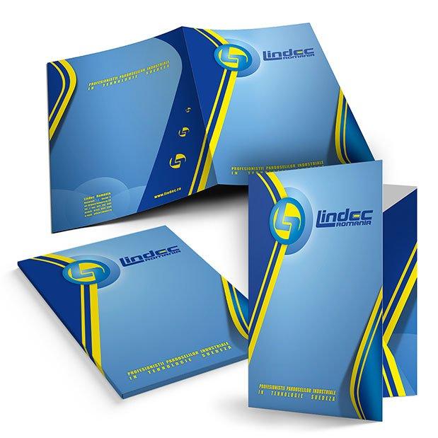 Servicii de grafică publicitară, concept și realizare mapă de prezentare pentru firma Lindec România.